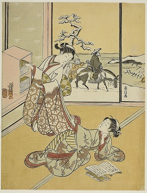 Two Women Reading Harunobu Print