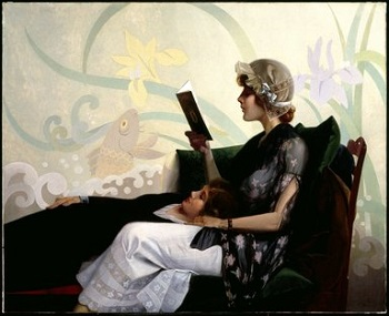Reading Girl Painting